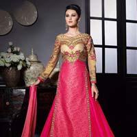 Classical Magenta Banarasi Khadi Lehenga Style Churidar Suit