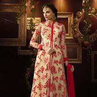 Customary Resham Work Net Red Anarkali Salwar Kameez