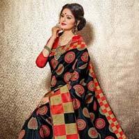Dazzling Black Jacquard Silk Saree