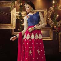 Dilettante Silk Embroidered Work Anarkali Salwar Kameez