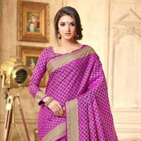 Ethnic Purple Tussar Silk Saree