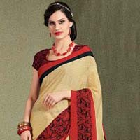 Exuberant Cream French Crepe Saree