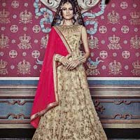 Girlish Embroidered Work Net Beige Anarkali Salwar Kameez