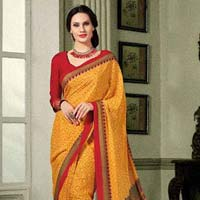 Glided Mustard French Crepe Saree