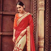 Monumental Red Georgette On Net Designer Saree