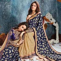 Navy Blue Brasso Net With Double Blouse Designer Saree