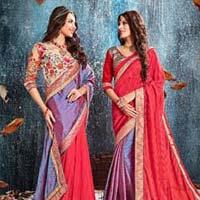 Red Brasso Crushed Silk With Double Blouse Designer Saree