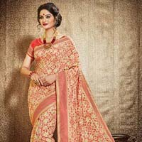 Shapeliness Cream Jacquard Silk Saree