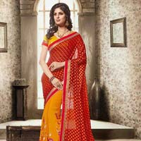 Sociability Dark Red Brasso Designer Saree
