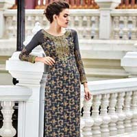 Sophisticated Georgette Grey Designer Suit