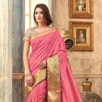 Splendid Hot Pink Tussar Silk Saree