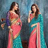 Teal Brasso With Double Blouse Designer Saree