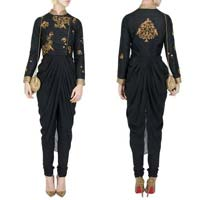 Titillating Black Georgette & Raw Silk Designer Suit