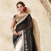 Versatile Black Georgette On Net Designer Saree