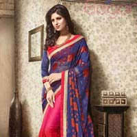 Wealthy Blue Brasso Georgette Designer Saree