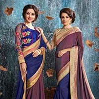 Wine Shimmer Brasso With Double Blouse Designer Saree
