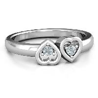 Sterling Silver Inverted Kissing Hearts Ring
