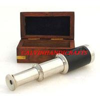 Silver Telescope, Handheld Wood Box