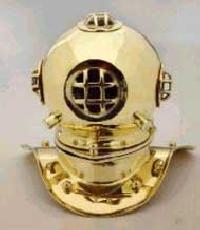8 Inch Brass Table Decor Diving Helmet