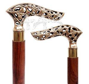 Engraved Brass Handle Victorian Wooden Walking Stick