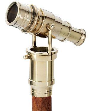 Hidden Spy Brass Telescope Wooden Walking Stick