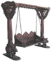 Antique Polished Wooden Carved Swing