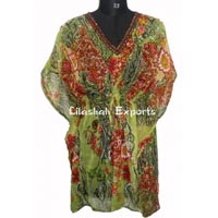 CF3022 Chiffon kaftan dress ladies wear kaftan dress beach wear kaftan dress nice print kaftan chiff