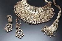 Diamond Studded Silver Necklace Set