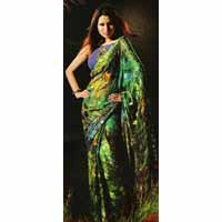 Peacock Green Brasso Saree With Blouse