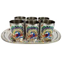 Stainless Steel Meenakari Serving Tray