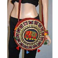 round hand embroidered elephant bags