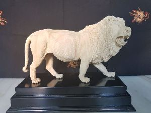 Wooden Lion Statues