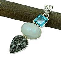 8.1 Gm Sterling Silver Gemstone Pendants