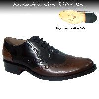 Handmade Goodyear Welted Black & Brown Brogue Shoes - Article No. H114