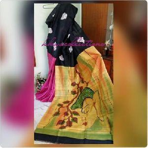 Hand Printed Bishnupur Silk Sarees
