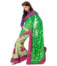 Surya Lifestyle Bright Rama Colored Viscose Saree