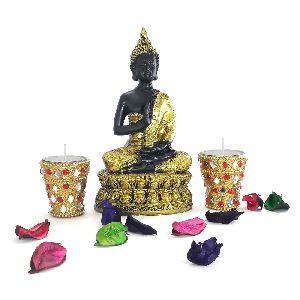 Buddha Statue With 2 Decorative Designer Handmade Long Tea Light Candles Set