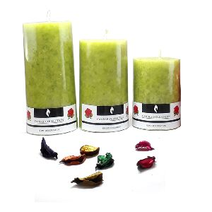 Lemon Grass Fragrant Scented Marble Pillar Candles