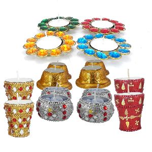 16 Pcs Diwali Decoration Lof Handmade Decorative Designer Candles Set