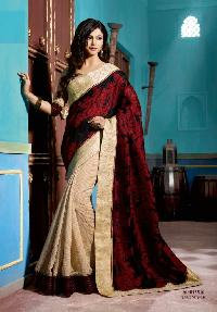 Designer Black And Red Art Silk Party Wear Saree With Velvet Border