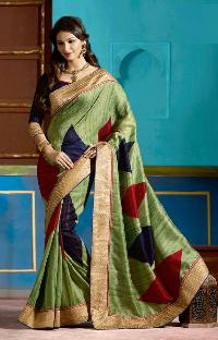 Designer Green With Digital Print And Zari Border Art Silk Saree