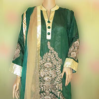 Semi Stitched Green Chanderi Suit