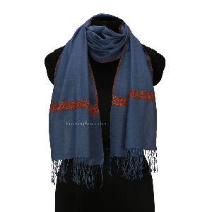 Aegean Blue Sozni Woolen Muffler