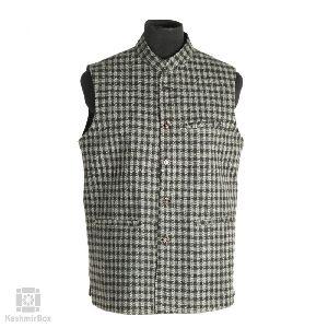 Black White Herringbone Tweed Waistcoat