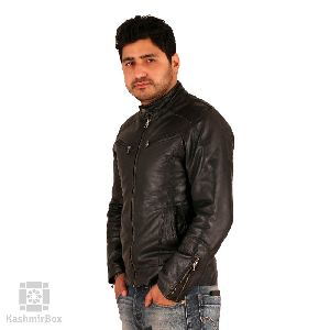 Black Zipper Mens Leather Jacket