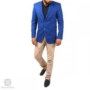 Cobalt Blue Hand Woven Solid Pashmina Coat