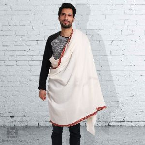 White Sozni Strip Embroidered Gents Shawl