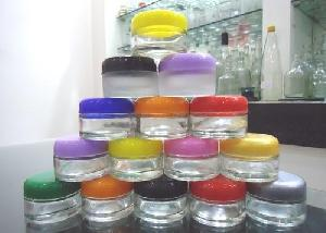 20 Gms Round Frosted Cream Glass Jar With Cap