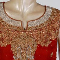 Red Jacquard Silk Embroidered Bridal Kurti