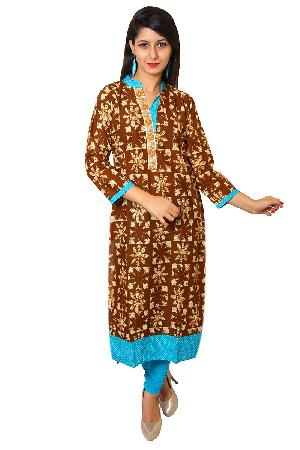 Brown Cotton Straight Embroidered Kurti
